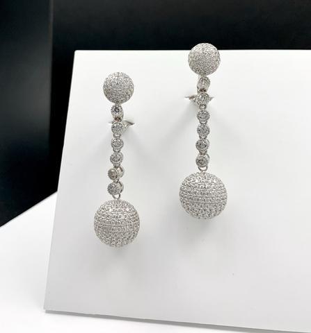 89095 - Серьги из серебра с подвесками шары с микроцирконами