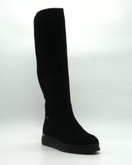 Черные велюровые ботфорты на меху