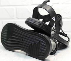 Кожаные мужские сандали босоножки на низкой подошве Nike 40-3 Leather Black.