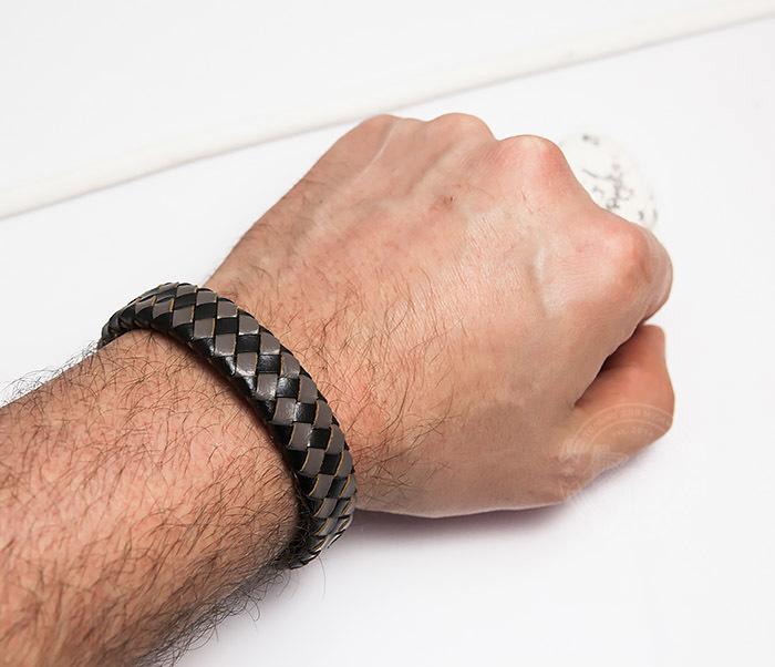 BM450-2 Мужской плетеный браслет из натуральной кожи (20 см) фото 06