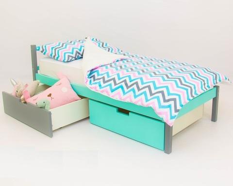 Кровать SKOGEN графит-мятный