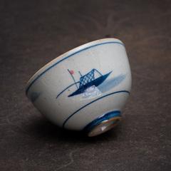"Пиала ""Рыбацкая лодка"" керамика Цзиндэчжэнь, 75 мл"