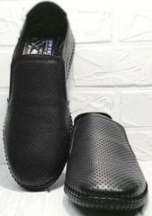 Мокасины кожаные мужские туфли с перфорацией casual стиль мужской Ridge Z-291-80 All Black.