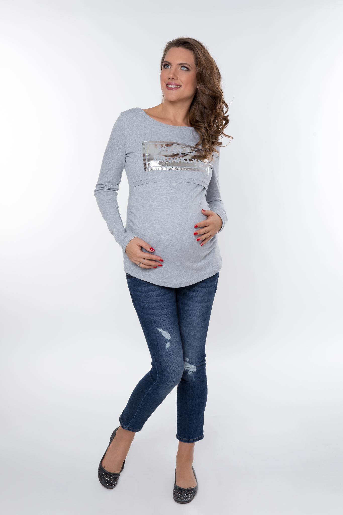 Блузка для беременных 09010 серый меланж