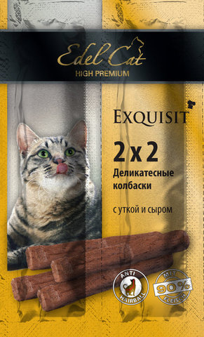 Лакомство Edel Cat деликатесные  колбаски мини с уткой и сыром для взрослых кошек