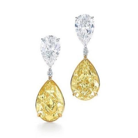 4834 - Серьги из серебра с желтыми каплевидными цирконами KoJewelry