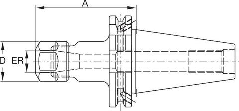 Цанговый патрон ER Форма ADB SK 50 A = 70