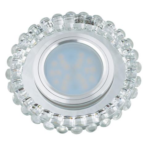 DLS-L133 GU5.3 CHROME/CLEAR Светильник декоративный встраиваемый, серия Luciole. Без лампы, цоколь GU5.3. Доп. светодиодная подсветка 3Вт. Металл/стекло. Хром/белый. ТМ Fametto
