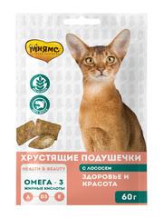 """Хрустящие подушечки для кошек с лососем Мнямс """"Здоровье и красота"""""""