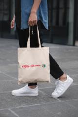 Мужская сумка-шоппер с принтом Альфа Ромео (Alfa Romeo) бежевая 002