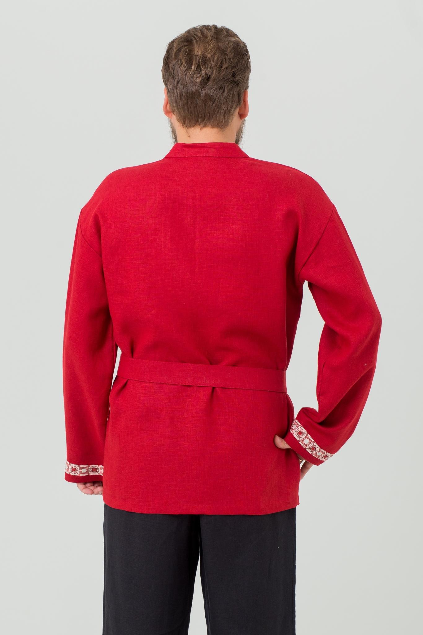 Русская льняная рубаха Брусничный цвет