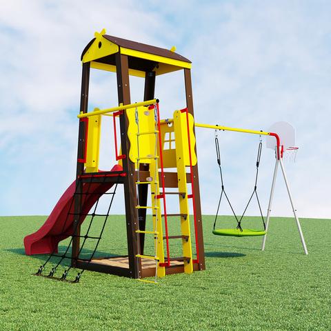 Детский спортивный комплекс для дачи ROMANA Избушка (с фоном)
