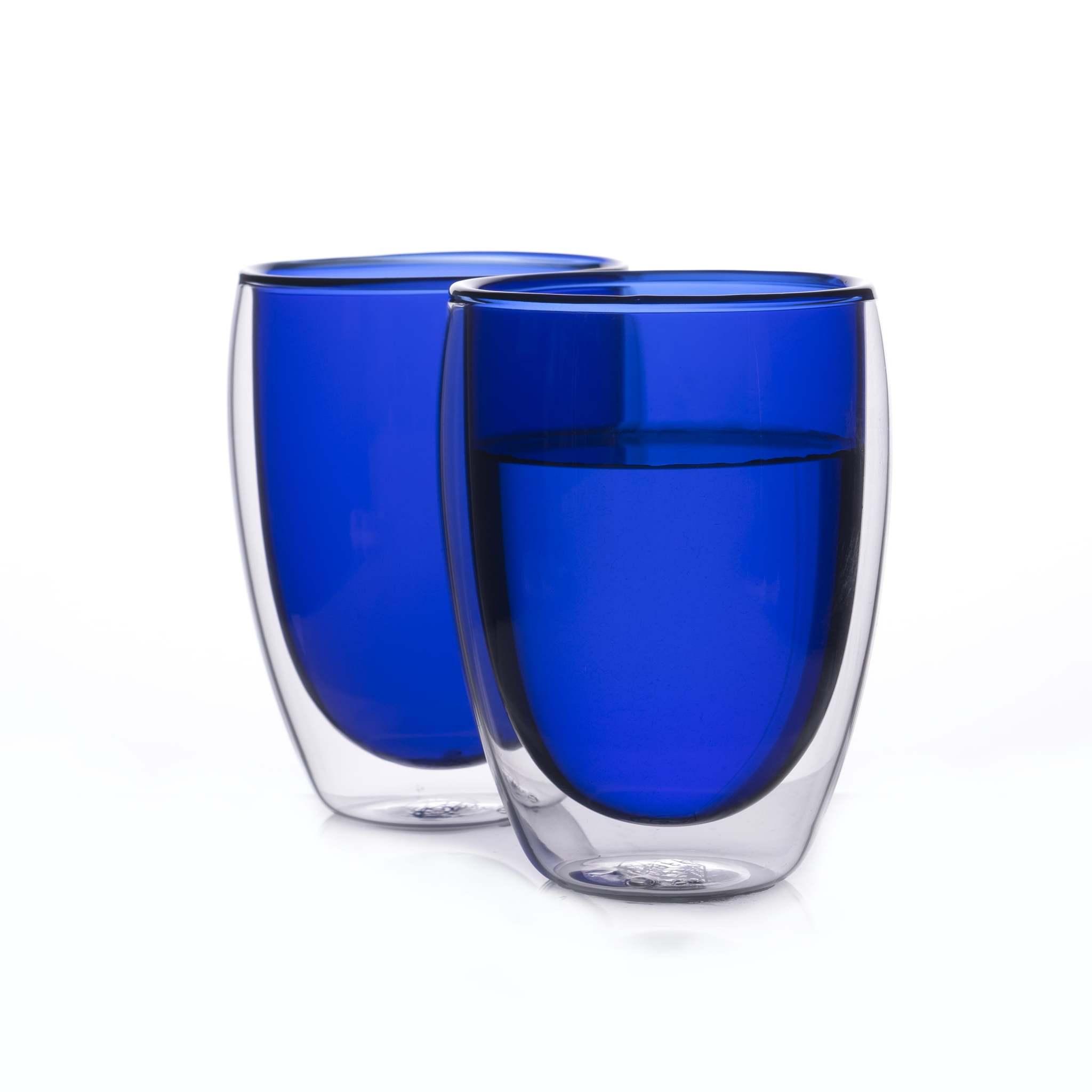 Цветные стаканы и кружки Стеклянные стаканы с двойными стенками синего цвета 2 штуки, 350 мл синий2-min.jpg