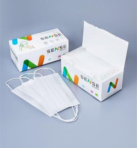 Защитная маска SENSE в картонной упаковке 50 шт.