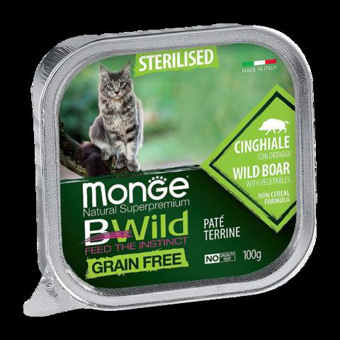 Monge Cat BWild Grain Free Консервы для стерилизованных кошек из кабана с овощами, беззерновые (ламистер)