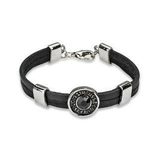 Оригинальный модный изящный кожаный чёрный мужской браслет со вставками из ювелирной стали SPIKES SL0016-K