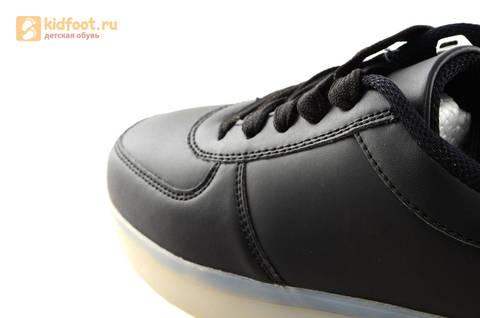 Светящиеся кроссовки с USB зарядкой Fashion (Фэшн) на шнурках, цвет черный, светится вся подошва. Изображение 20 из 27.