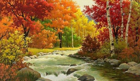 Алмазная Мозаика + Багет 30x40 Узкая речка среди разноцветных деревьев