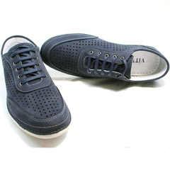 Летние туфли  без каблука Vitto Men Shoes 3560 Navy Blue.