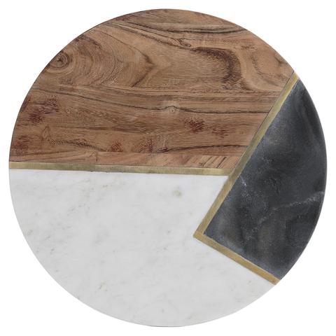Доска сервировочная из мрамора и акации Elements D 30 см