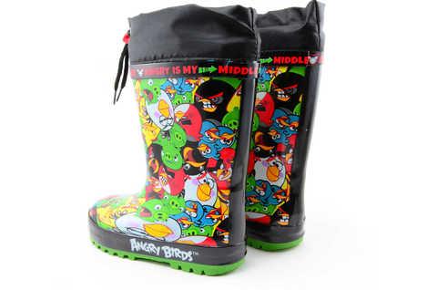 Резиновые сапоги для мальчиков утепленные Энгри Бердс (Angry Birds), цвет черный. Изображение 6 из 11.