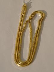 Снейк пустотелый восьмигранный с позолотой (серебряная цепочка)