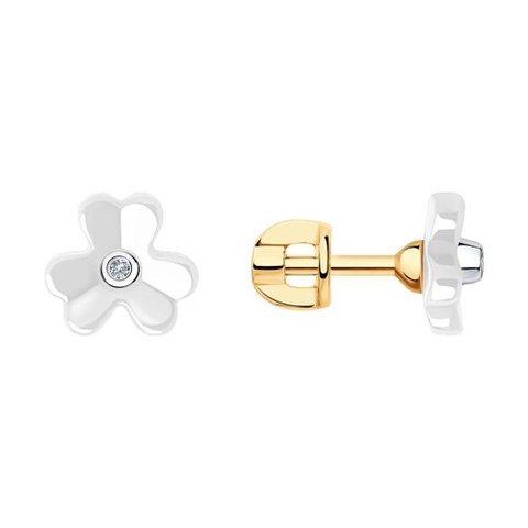 6025141 - Серьги из золота с бриллиантами и керамическими вставками
