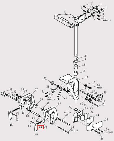 Болт зажима струбцины для лодочного мотора F9.8 Sea-PRO (13-44)