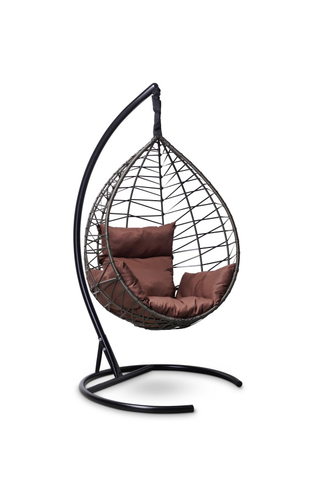 Подвесное кресло-кокон ALICANTE черное + каркас + коричневая подушка
