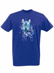 Футболка с принтом Волк (Wolf) синяя 002