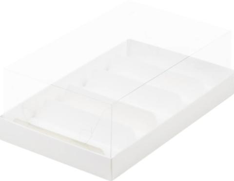 Коробка под эклер и пирожных с прозрачным куполом белая, 22*13,5*7см
