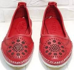 Кожаные слипоны мокасины с перфорацией женские Rozen 212 Red.
