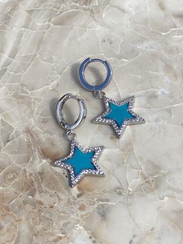 Серьги Стелла из серебра, голубая эмаль