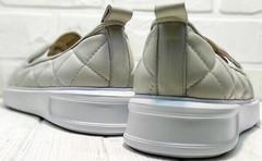 Кожаные слипоны на платформе туфли женские без каблука Alpino 21YA-Y2859 Cream.
