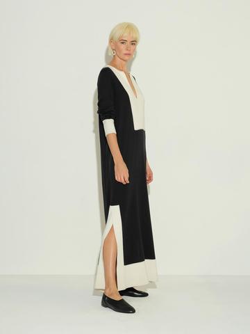 Женское платье черного цвета из шелка и кашемира - фото 4