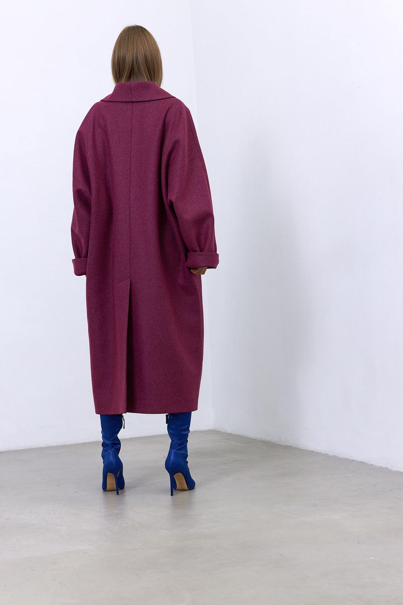 Пальто с комбинированным рукавом, фуксия