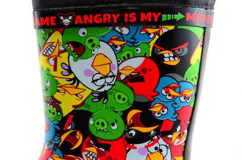 Резиновые сапоги для мальчиков утепленные Энгри Бердс (Angry Birds), цвет черный. Изображение 8 из 11.
