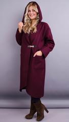 Сарена. Оригінальне пальто-кардиган великі розміри. Бордо.