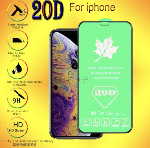 Защитное стекло 20D для iPhone 6/6s PLUS/7/8/X/XS/XR/ XS MAX