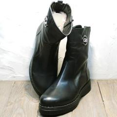 Полусапожки на низком каблуке женские зимние G.U.E.R.O G019 8556 Black.
