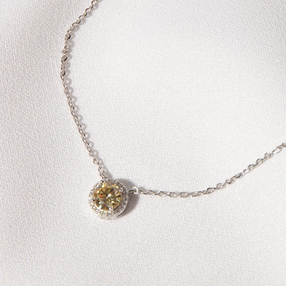 Подвеска круглый циркон в розетке желтый (серебро 925)