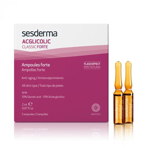 SESDERMA | Средство в ампулах форте с гликолевой кислотой / ACGLICOLIC CLASSIC FORTE Ampoules, (5 шт по 2 мл)