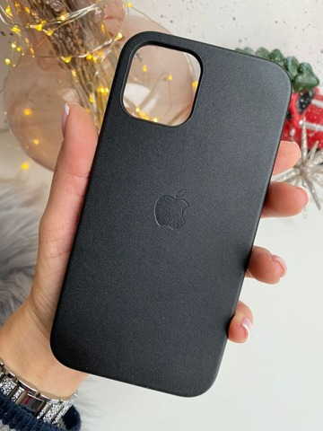 Чехол iPhone 12 Pro Max Leather Case with MagSafe /black/