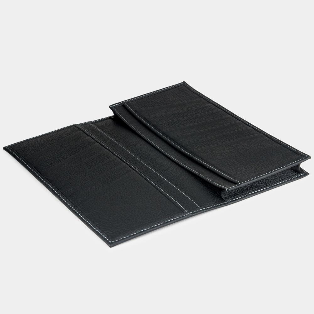 Длинный кошелек Lingot Easy из натуральной кожи теленка, цвета черный мат