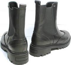 Ботинки молодежные женские Jina 7113 Leather Black.