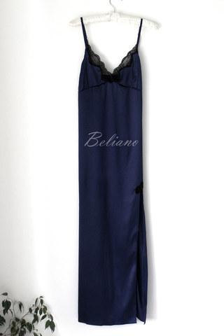 Синяя шелковая ночная рубашка (комбинация) макси из натурального шелка