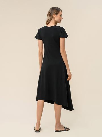 Женское асимметричное платье черного цвета из вискозы - фото 2