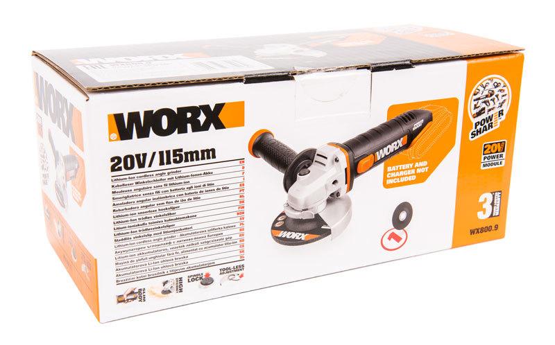 Угловая шлифмашина аккумуляторная WORX WX800.9 20В