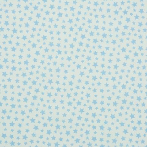Ткань хлопковая голубой звездопад на белом, отрез 50*80 см