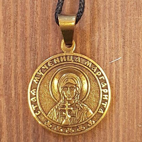 святая Маргарита именная нательная икона из бронзы кулон с молитвой